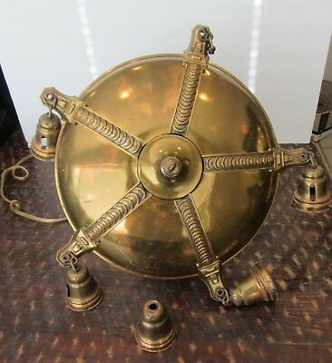 Vintage Brass Chandelier Ceiling 5 Light Fixture Antique Victorian 1920s Restore