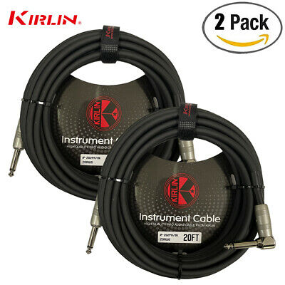2 PACK Kirlin 20 FT Cable Right-Angle Electric Patch Cord Guitar +Free Cable Tie