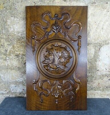 French Antique Highly Carved Architectural Panel Solid Walnut Wood -   Knight