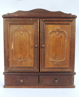 Vintage Antique Wooden Wood Cabinet Cupboard Mini Wall Carved Handmade Furniture