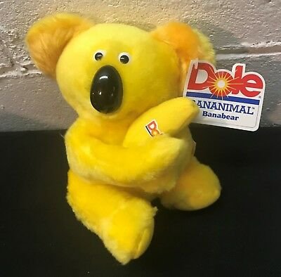 Vintage 1980's DOLE Bananimals Plush BANABEAR Koala Bear New with Tags
