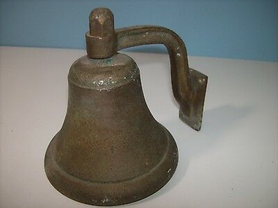 VINTAGE BRONZE/BRASS SHIPS BELL *HEAVY* WITH MOUNTING BRACKET - Fog, Dinner Bell