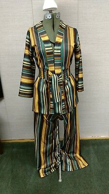 Vintage 1970s polyester Green Black Yellow Striped Ladies Wide Leg Pantsuit cool