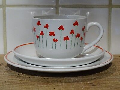 Wade Royal Victoria Poppies Trio of Cup, Saucer and Plate