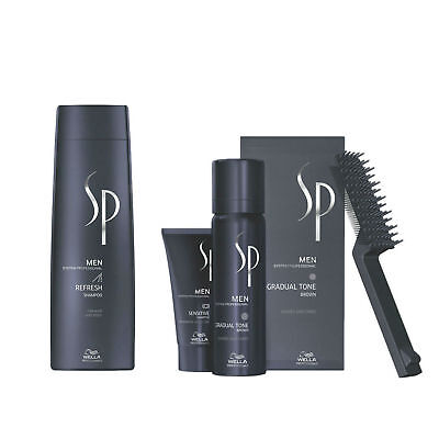 Wella System Professional Men Kit Refresh Shampoo 250ml  Gradual Tone Brun 60ml