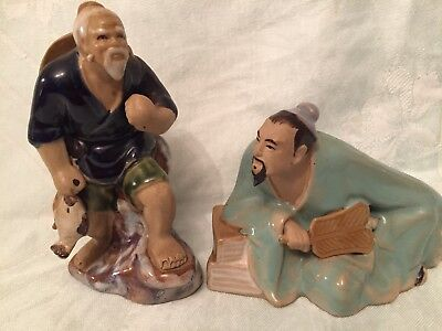 Oriental / Chinese Shiwan Mud Men Figure X 2
