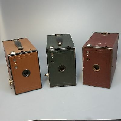KODAK box BROWNIE 2A job lot x3 RED GREEN AND BROWN COLOUR