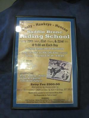 Monty Hawkeye Henson Vintage 1st Annual Saddle Bronc Riding School Poster 1970s