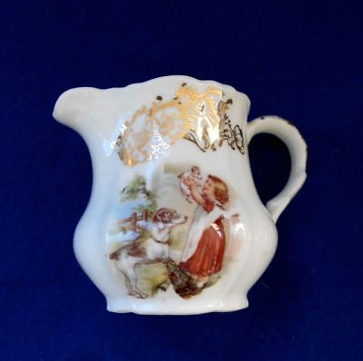 Old c1925 Rare Mini Creamer Fox or Jack Russell Terrier & Puppy Dogs Germany
