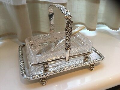 Beautiful Victorian Chales Edward Nixon Silver Plated And Glass Butter Dish