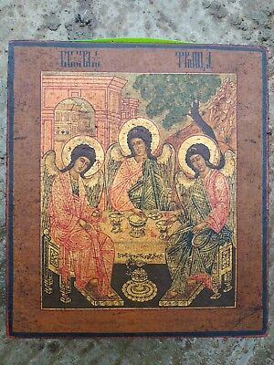 Rare 36x32 Antique 18c Russian Imperial Holy Trinity Frolov workshop wood gold