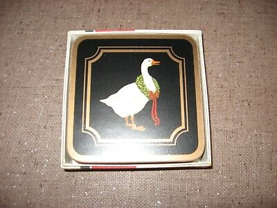 Set of 6 Pimpernel Coasters England Christmas Goose In Box  BLACK & GOLD XLNT