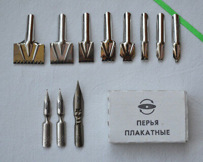 USSR Poster Nibs Lot 11x Soviet Calligraphy pen tips Lettering Ink tool vintage