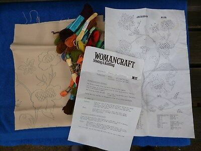 Vintage Womancraft Jacobean Panel Outline Printed Tapestry Kit.