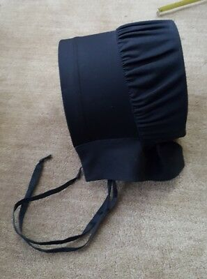 Authentic Handmade Amish Mennonite Black Bonnet Hat Ladies Plain Clothing