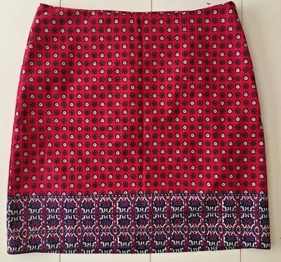 27c84b0358 Nwt Talbots Lined Pencil Straight Skirt Navy Red & White Medallion ...