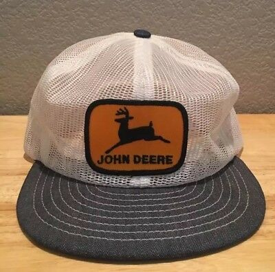 Rare Vintage John Deere Cap Hat Great Condition Denim Bill Yellow Patch
