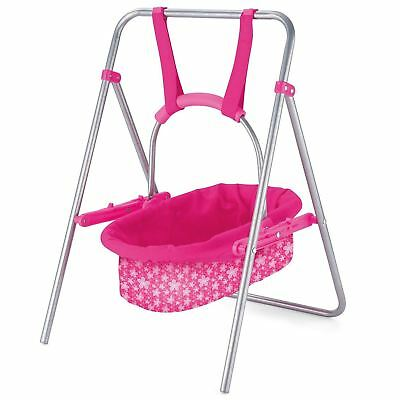 Snuggles Baby Dolls Pink Swing Removeable Carry Cot Cradle Bed Kids Role Play