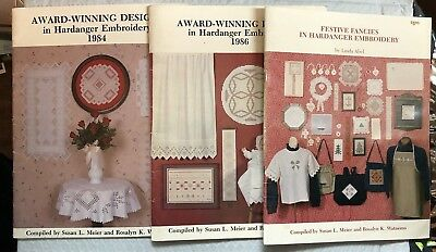 Award Winning Designs Hardanger Embroidery 3 booklets ('84, '86, Festive Fancie)