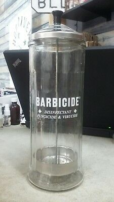 Vintage  BARBICIDE Comb Sterilizer Glass Jar Barber Shop Hair Stylist -