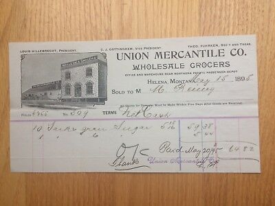 HELENA MONTANA BILLHEAD 1895 Union Mercantile Co. Wholesale Grocers
