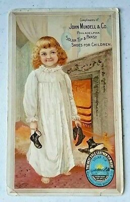 Trade Card Mundell Solar Tips and Pansy Shoes for Children Philadelphia