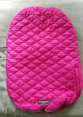 JJ Cole Bundle Me Pink and Grey Baby Girl Car Seat Cover With Blanket Pre Owned