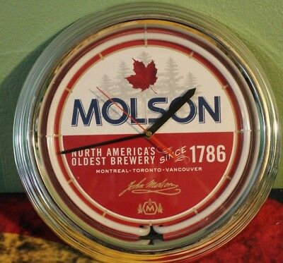 Molson, North America's Oldest Brewery Lighted Clock, Neon, T&W