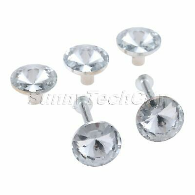 Glass Zinc Alloy Furniture Pull Knobs Clear Round Crystal Cabinets Handles 5Pcs