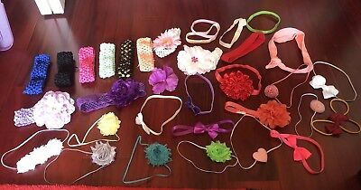 Huge Lot Of 33 Girls Hairbows Stretchy Headbands And Hair Bows