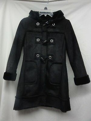 Rothschild GIRLs Black winter COAT fuzzy inner hooded JACKET SIZE M 10/12