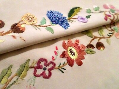 VINTAGE Linen HAND EMBROIDERED Tray Cloth FLORAL Exquisite Needlework
