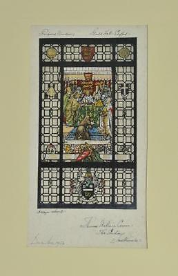 T.W.Camm Studio- Watercolour Stained Glass Window Design Guild Hall Stafford