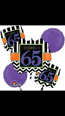 Happy 65th Birthday Helium Balloons Party Ware Decoration Novelty Gift