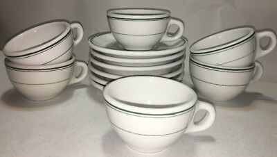 Heavy Diner (LOT of 12) STERLING CHINA VITRIFIED GREEN STRIPE Mugs & Saucers EUC