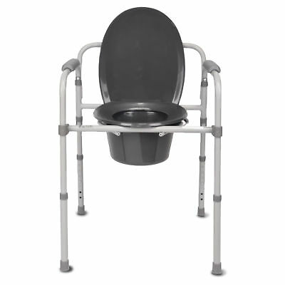 Bedside Commode Lightweight Frame Durable Strong Stable Adjustable Removable Lid