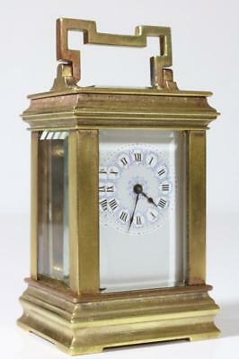 MINIATURE ANTIQUE FRENCH CARRIAGE CLOCK working CANALEE CASE porcelain dial