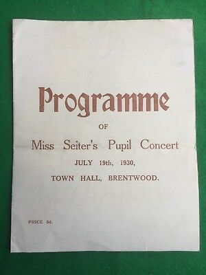 Theatre / concert programme Town Hall Brentwood 19th July 1930