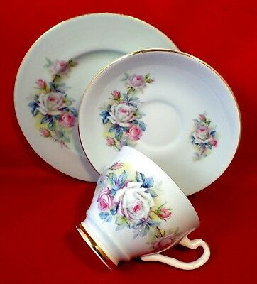 VINTAGE China TRIO Royal Imperial ROSE Floral Tea Time SHABBY CHIC