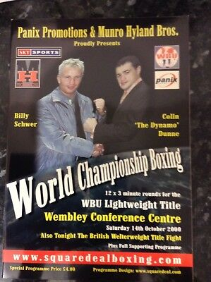 2000 Billy Schwer Vs Colin Dunne world title boxing programme