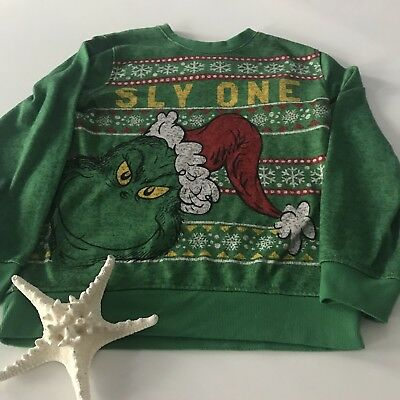 The Grinch Kids Large Ugly Christmas Sweater Fleece Sweatshirt Holiday 'Sly One'