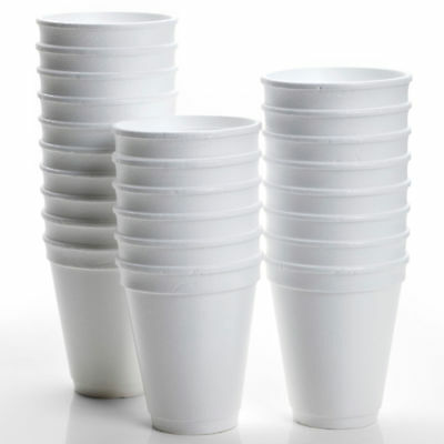 200 X Disposable Foam Cups Polystyrene Coffee Tea Cups for Hot Drinks 10oz/12oz