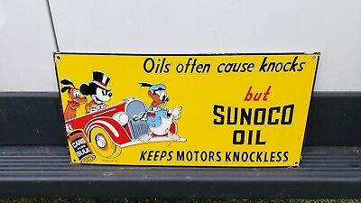 Big Ol' Sunoco Motor Oil Disney porcelain sign Donald Duck Mickey Mouse Walt can