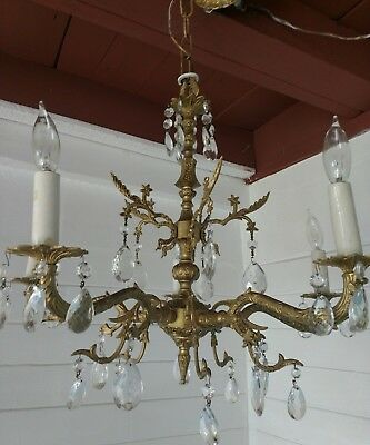 Antique Spanish 5 Arm Solid Brass golden Chandelier with lot's of crystals