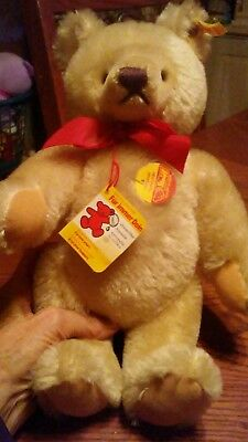 """12"""" Inch Steiff Teddy Bear W/ Button Ear Tag Golden Brown Movable Joints German"""