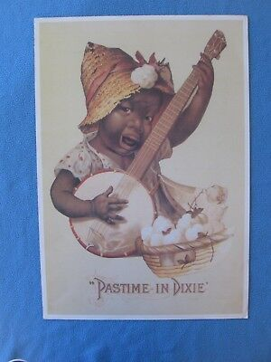 "Large Black Americana Print - ""Pastime In Dixie"" - NICE - FRAME FOR A GIFT"
