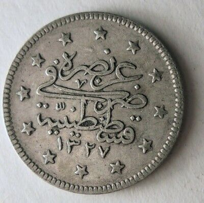 1909 OTTOMAN EMPIRE 2 KURUS - SUPER Rare Vintage Silver Coin - Lot #N15
