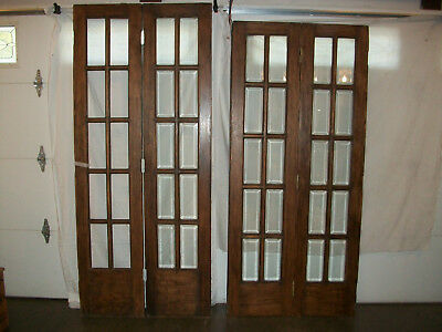 French Victorian Style Bi-Fold Ten Lite beveled glass Doors Need Work ''Read''