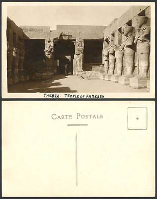 Egypt Old Real Photo Postcard THEBES Temple of Rameses Ruins Carvings Native Man