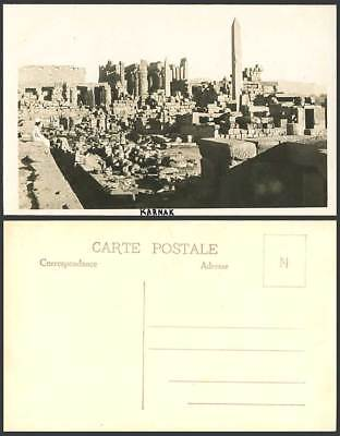 Egypt Old Real Photo Postcard KARNAK Temple Ruins Obelisk Obelisque Pillars, Man